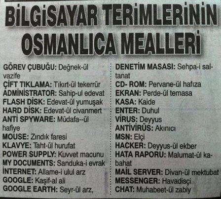 Osmanlıca Bilgisayar Terimleri