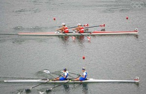 BEIJING - AUGUST 17: Melanie Kok and Tracy Cameron of Canada race Dimitrios Mougios and Vasileios Polymeros of Greece in the Lightweight Women's Double Sculls Final at the Shunyi Olympic Rowing-Canoeing Park during Day 9 of the Beijing 2008 Olympic Games on August 17, 2008 in Beijing, China. (Photo by Jamie Squire/Getty Images)