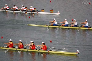 BEIJING - AUGUST 17: The Chinese Women's Quadruple Sculls compete with the Great Britain and Germany crew during the final at the Shunyi Olympic Rowing-Canoeing Park during Day 9 of the Beijing 2008 Olympic Games on August 17, 2008 in Beijing, China. (Photo by Jamie Squire/Getty Images)
