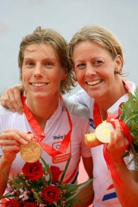 Marit van Eupen (L) and Kirsten van der Kolk of the Netherlands celebrate the gold medal in the Lightweight Women's Double Sculls Final at the Shunyi Olympic Rowing-Canoeing Park during Day 9 of the Beijing 2008 Olympic Games on August 17, 2008 in Beijing, China. (Photo by Jamie Squire/Getty Images)