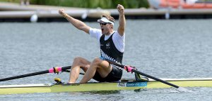 Mahe Drysdale of New Zealand celebrates winning the Final A of the men's single sculls at the 2012 Olympic Rowing Regatta at Eton-Dorney near London, Great Britain.