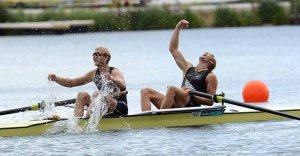 Eric Murray (b) and Hamish Bond (s) of New Zealand celebrate winning gold in the men's pair Final A at the 2012 Olympic Rowing Regatta at Eton-Dorney near London, Great Britain.