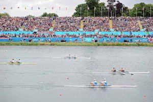 Finish of the men's double sculls Final A: New Zealand come in first, Italy second, Slovenia third at the 2012 Olympic Rowing Regatta at Eton-Dorney near London, Great Britain.