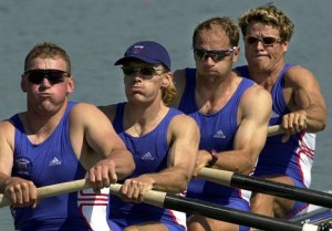 The Great Britain coxless four team of Matthew Pinsent, left, Tim Foster, Steven Redgrave and James Cracknell at the start of their race Sunday, Sept. 17, 2000, at the Sydney International Regatta Centre in Penrith, Australia. They finished with the fastest time in all heats, 6:01.58. (AP Photo/Kathy Willens)