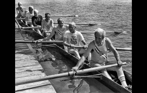 1982: Members of the 1932 Olympics Cal Berkerley crew, minus Charles Chandler and coxswain Norris Graham, both of whom had passed away, pose for an alumni picture. John Irwin, third from left, an alternate in 1932, takes Chandler's place. The team won the Gold medal. This photo was published in the July 31, 1984, Los Angeles Times.