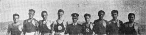 15-1934 İzmit ' e giden Kürekçilerden bir grup Faruk Umay - Bedii Gorbon - Ali Sungur Gürsoy - Emcet Ali Sander - Haluk Sadak - Cengiz Kut - Nevin Hassan