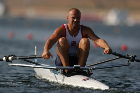 Vaclek Chalupa racing in the men's single sculls for Czech Republic at the 2004 Olympic Games in Athens, Greece