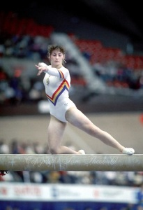 Ecaterina Szabo of Romania performs on balance beam at 1985 World Championships in women's artistic gymnastics at Montreal, Canada in mid-November, 1985. Photo by Tom Theobald