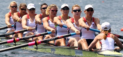 LUCERNE, SWITZERLAND - MAY 25: (L-R) Esther Lofgren, Zsuzsanna Francia, Jamie Redman, Amanda Polk, Meghan Musnicki, Taylor Ritzel, Caroline Lind, Caryn Davies and Mary Whipple of USA row in the women's eight during Day 1 of the 2012 Samsung World Rowing Cup III on Lucerne Rotsee on May 25, 2012 in Lucerne, Switzerland. (Photo by Martin Rose/Bongarts/Getty Images)