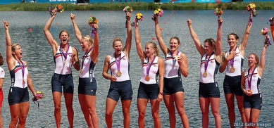 WINDSOR, ENGLAND - AUGUST 02: Members of the United States team celebrate with their gold medals during the medal ceremony after the Women's Eight final on Day 6 of the London 2012 Olympic Games at Eton Dorney on August 2, 2012 in Windsor, England. (Photo by Ezra Shaw/Getty Images)