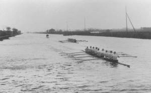 17 May-12 Aug 1928: Two crews in action during the Coxed Eights event at the 1928 Olympic Games in Amsterdam, Netherlands. The USA won the gold medal. . Mandatory Credit: IOC Olympic Museum /Allsport