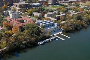 An aerial view from a helicopter highlights the northern portion of the UW-Madison campus along the Lake Mendota shoreline and lakeshore residence hall area during a sunny autumn day on Oct. 7, 2006. In the foreground is the Porter Boathouse. ©UW-Madison University Communications 608/262-0067 Photo by: Jeff Miller Date: 10/06 File#: D200 digital camera frame 1185